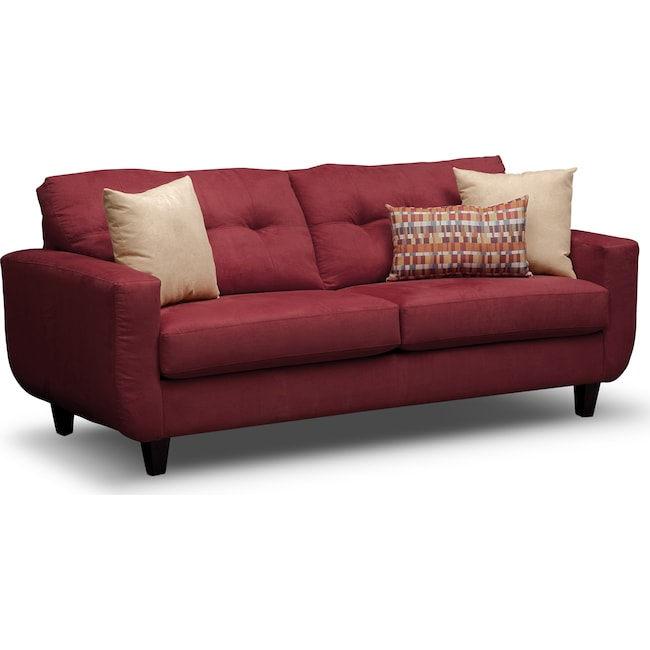 Living Room Furniture - West Village Sofa - Red