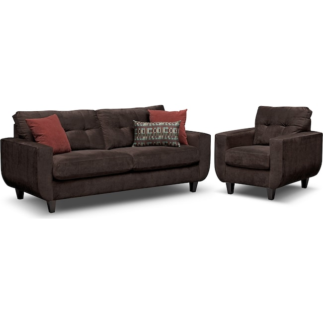 Living Room Furniture - West Village Sofa and Chair Set - Chocolate