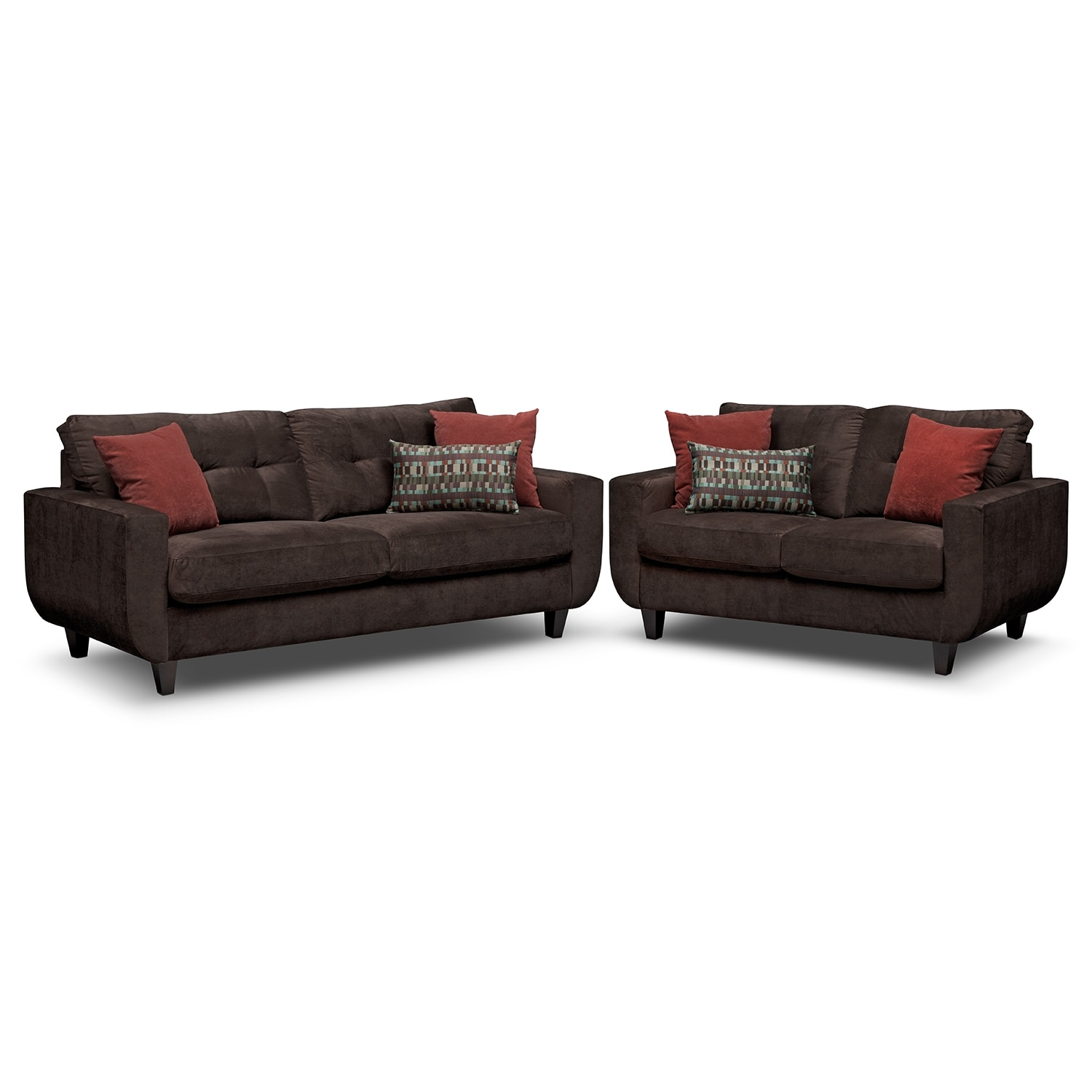 West Village Sofa and Loveseat Set - Chocolate