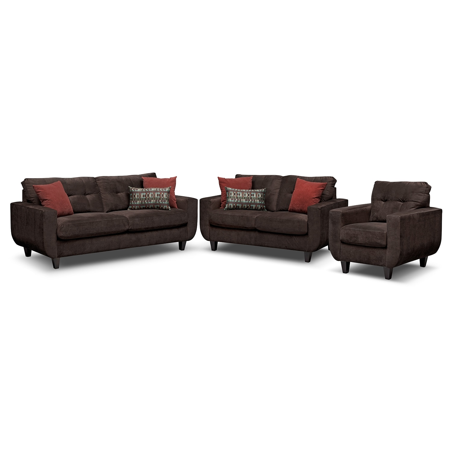 Living Room Furniture - West Village Sofa, Loveseat and Chair Set - Chocolate