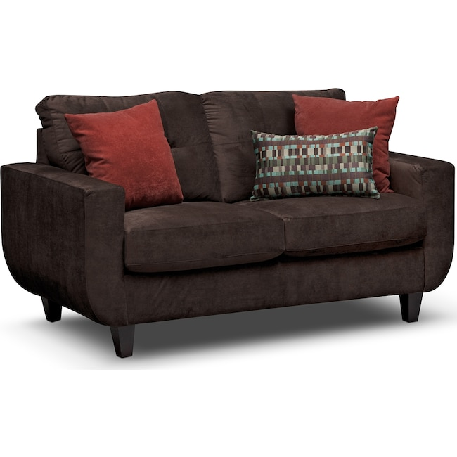 Living Room Furniture - West Village Loveseat - Chocolate