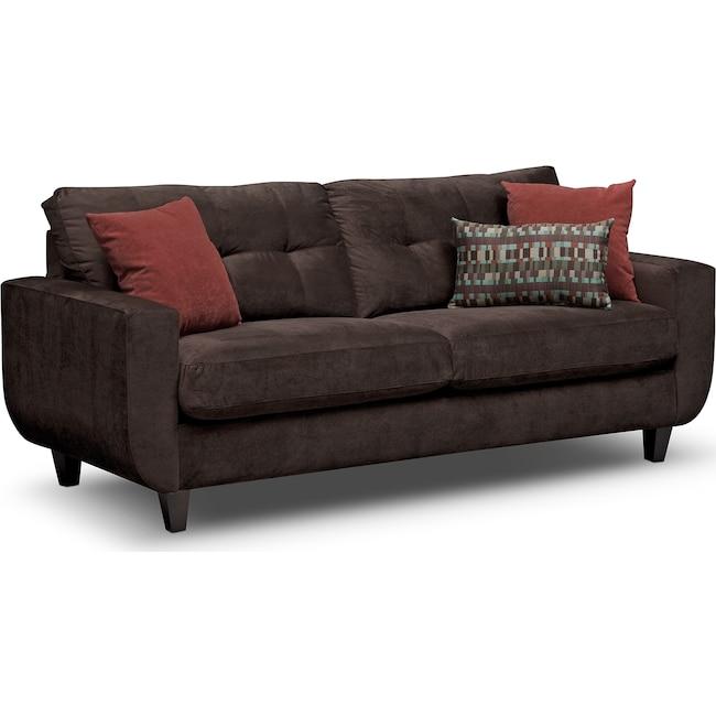 Living Room Furniture - West Village Sofa - Chocolate