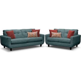 West Village Sofa and Loveseat Set - Blue