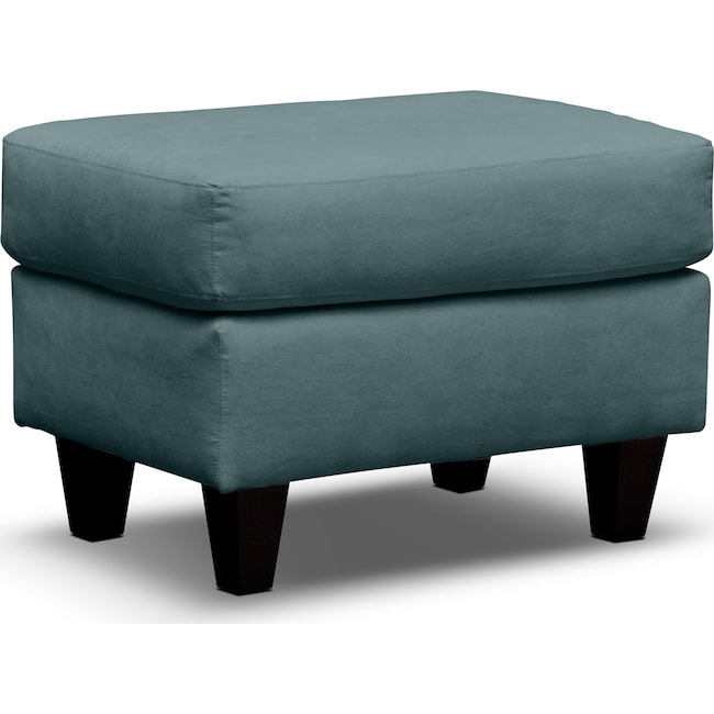 Living Room Furniture - West Village Ottoman - Blue