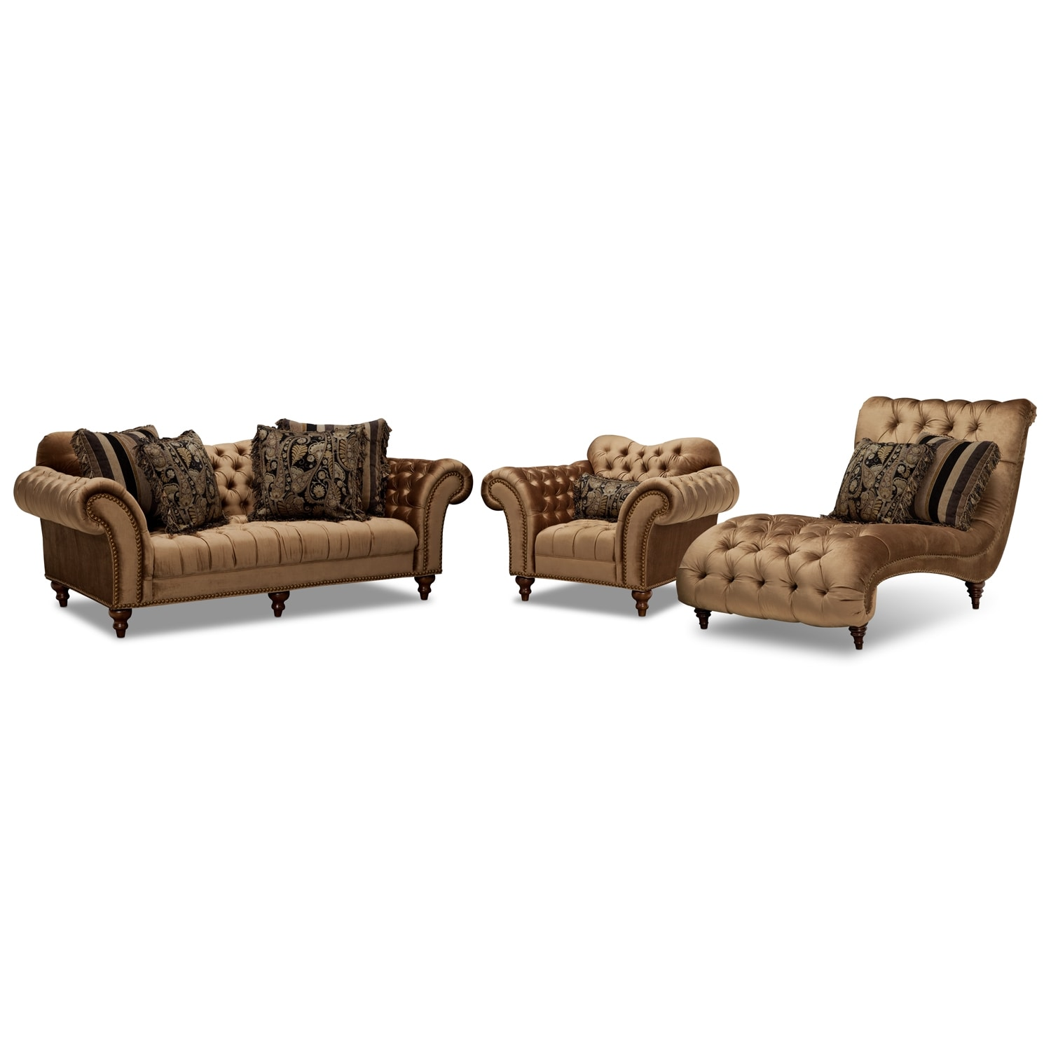 Brittney Sofa, Chaise and Chair Set - Bronze