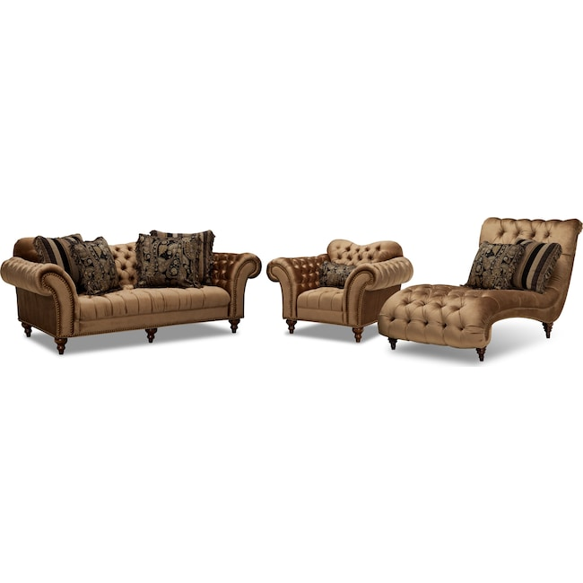 Brittney Sofa, Chair and Chaise Set - Bronze | Value City Furniture ...