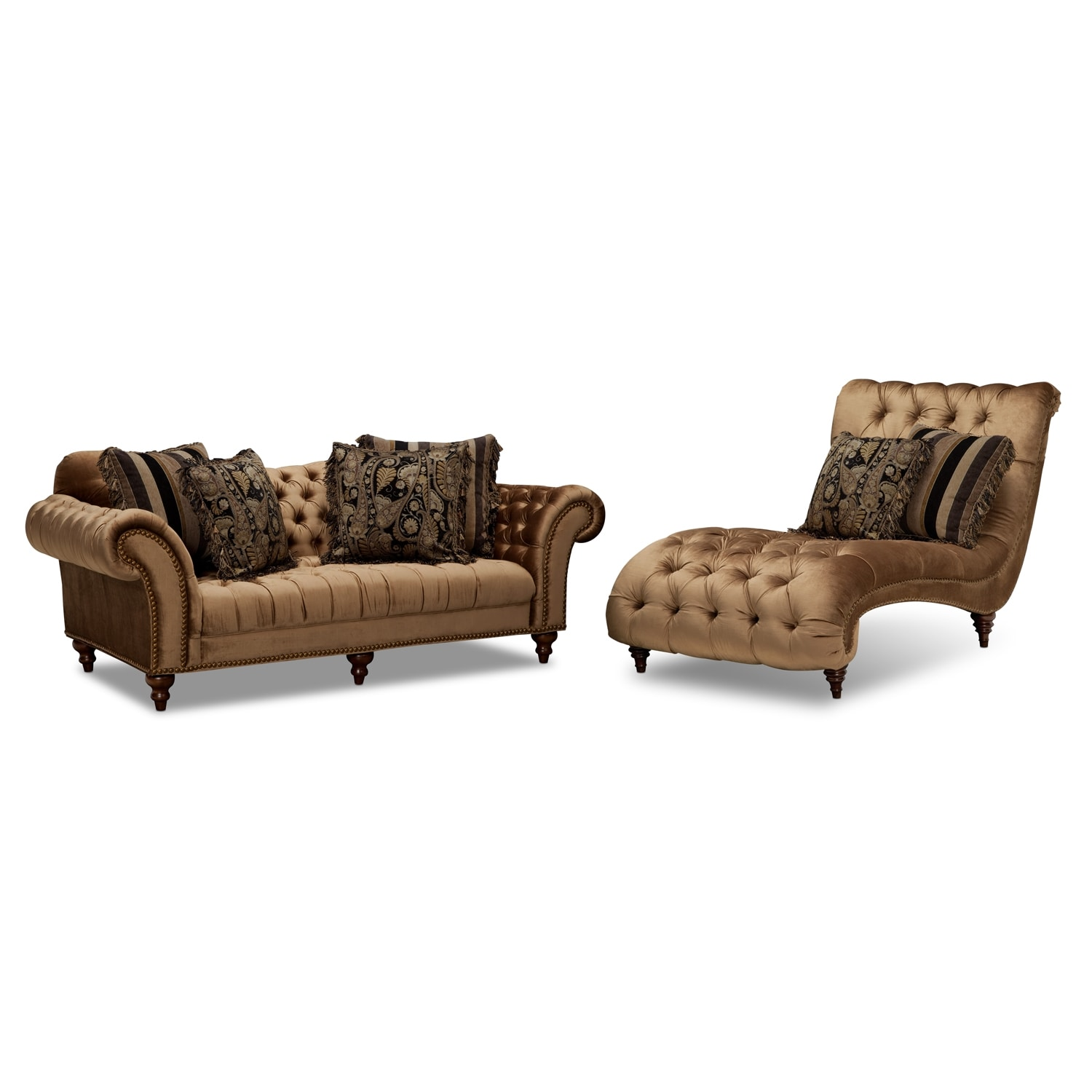 Brittney Sofa and Chaise Set - Bronze