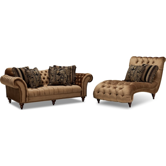 Living Room Furniture - Brittney Sofa and Chaise Set - Bronze