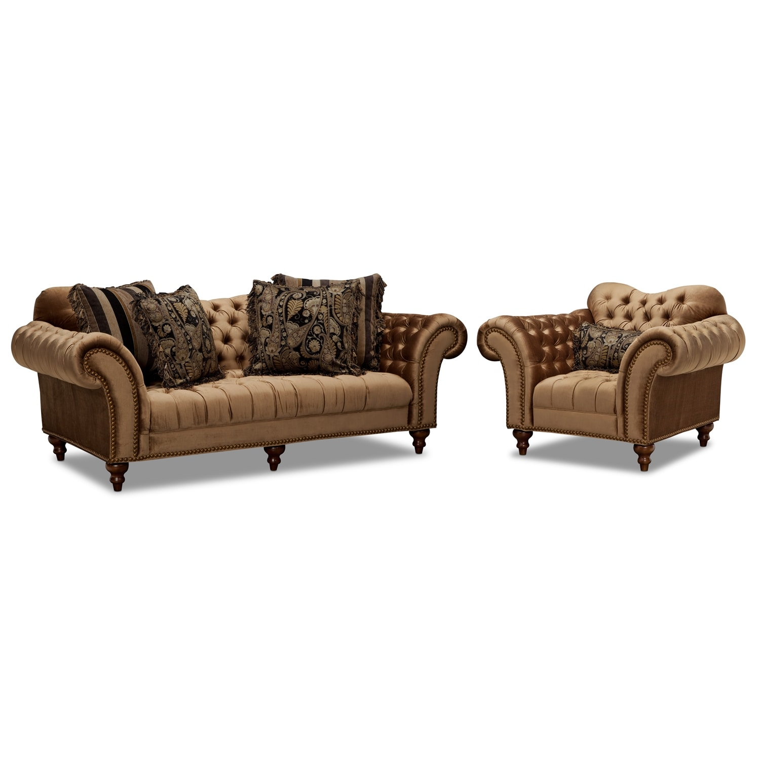 Living Room Furniture - Brittney Sofa and Chair Set - Bronze