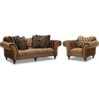 Brittney Sofa and Chair Set - Bronze
