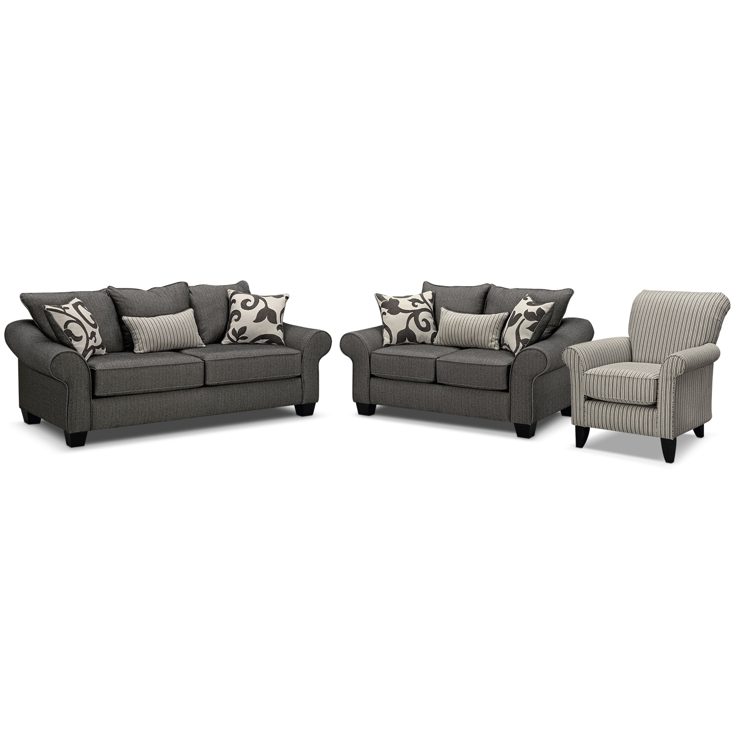 Colette Sofa Loveseat And Accent Chair Set Gray