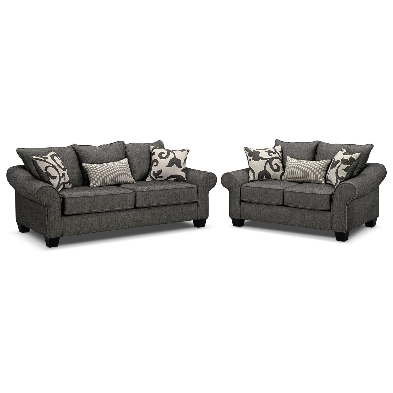 Colette Full Memory Foam Sleeper Sofa and Loveseat Set Gray