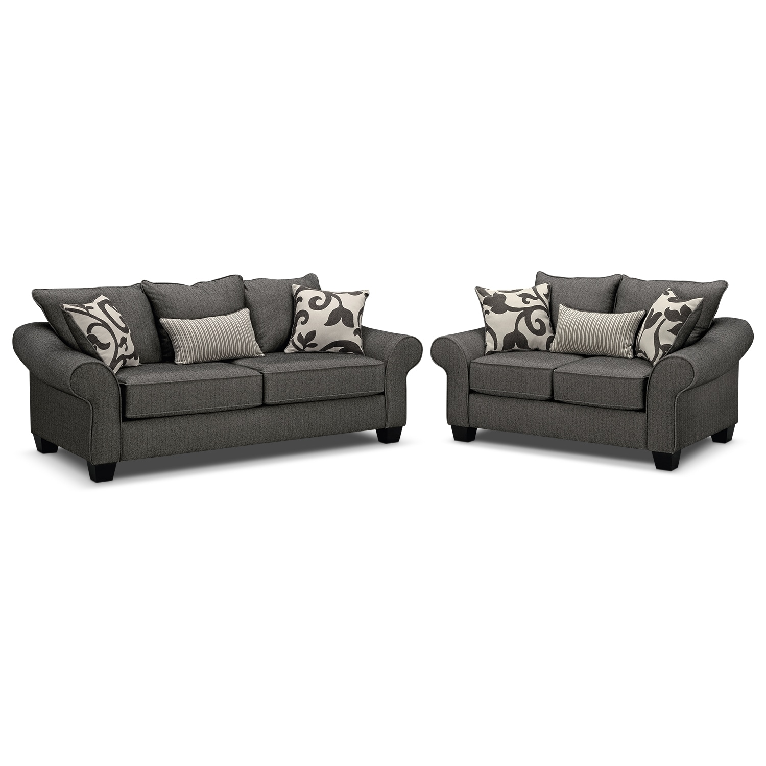Living Room Furniture - Colette Gray 2 Pc. Living Room