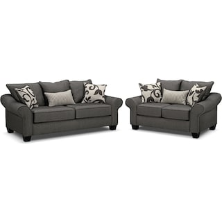Colette Sofa and Loveseat Set - Gray