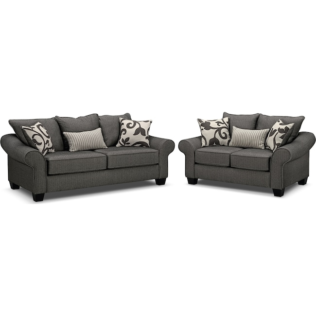 Living Room Furniture - Colette Full Memory Foam Sleeper Sofa and Loveseat Set - Gray