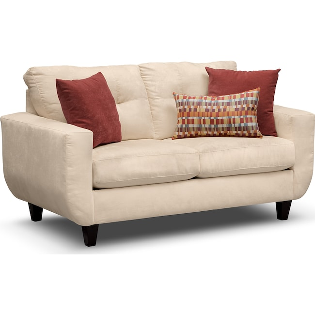 Living Room Furniture - West Village Loveseat - Cream
