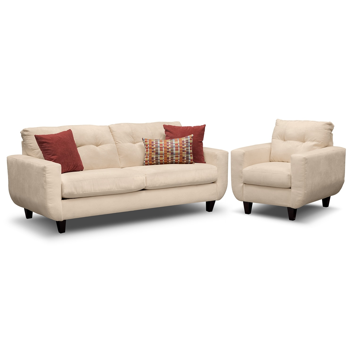 Living Room Furniture - West Village Sofa and Chair - Cream