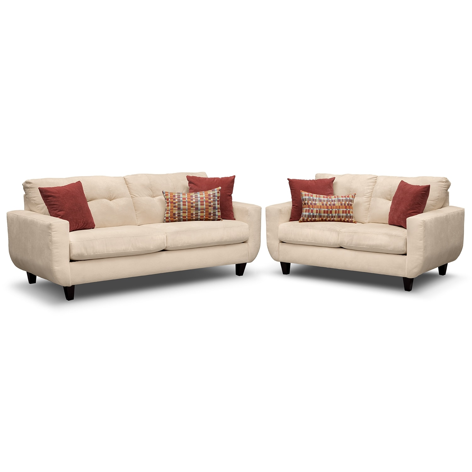 Living Room Furniture - West Village Sofa and Loveseat - Cream