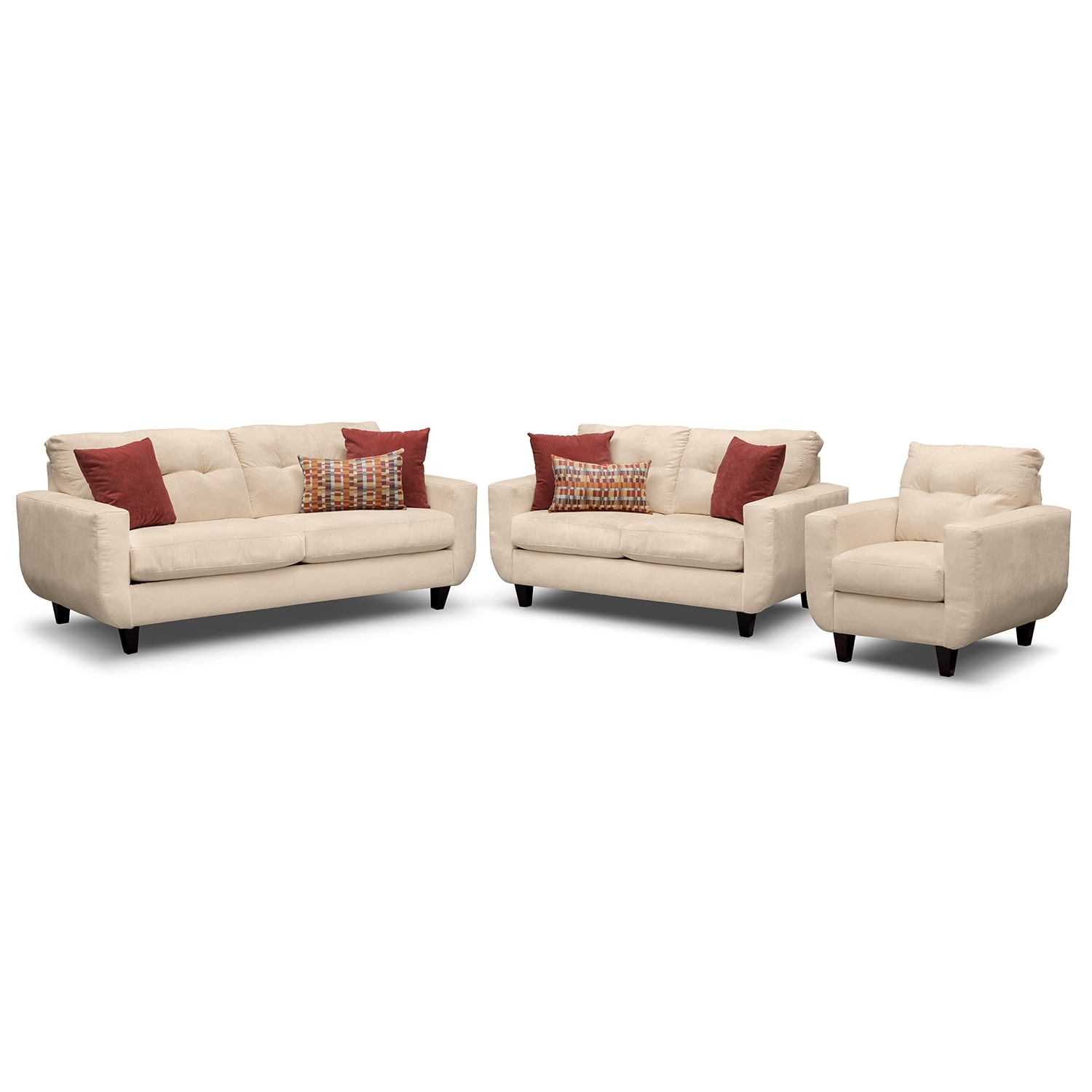 West Village Sofa, Loveseat and Chair - Cream