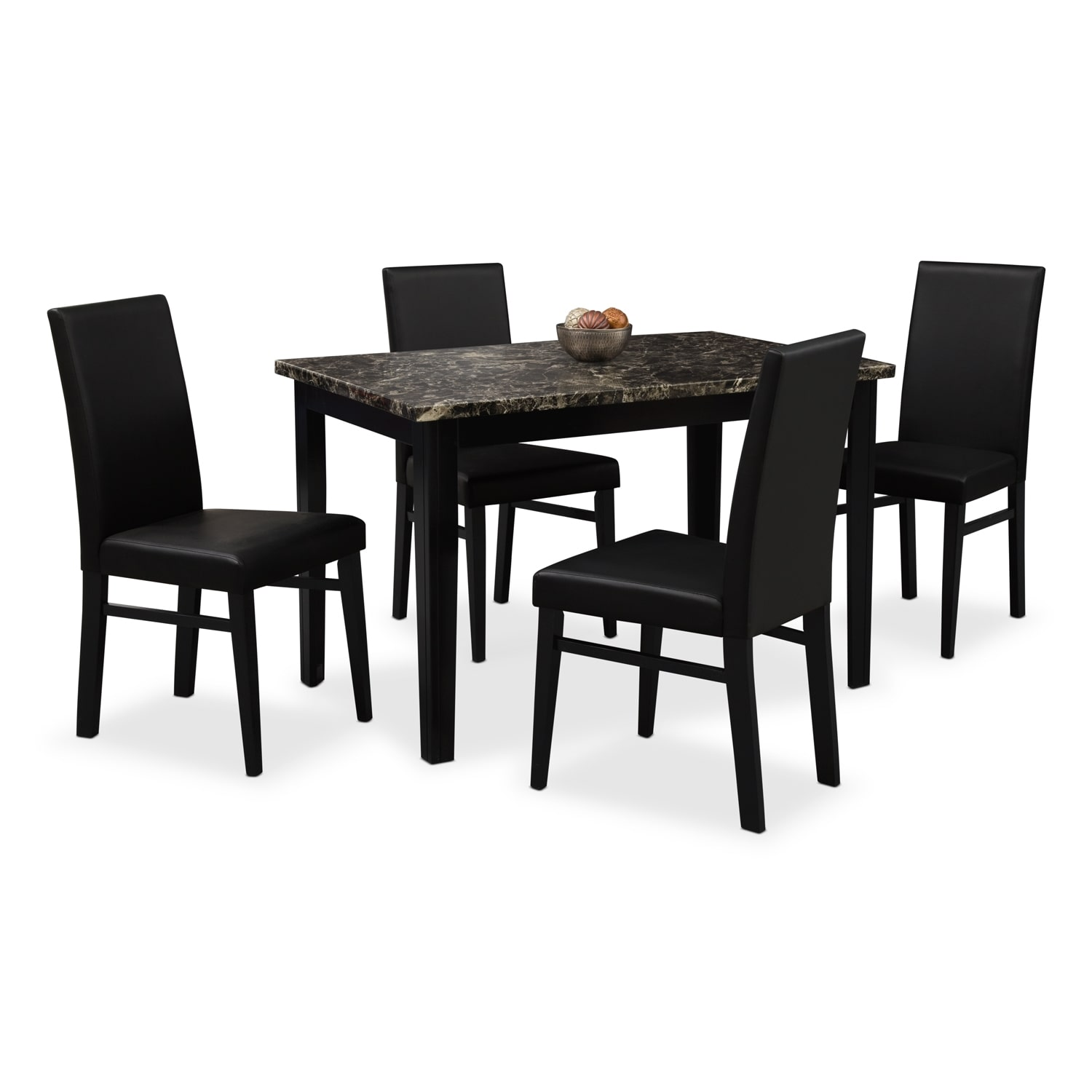 shadow table and 4 chairs black value city furniture. Black Bedroom Furniture Sets. Home Design Ideas