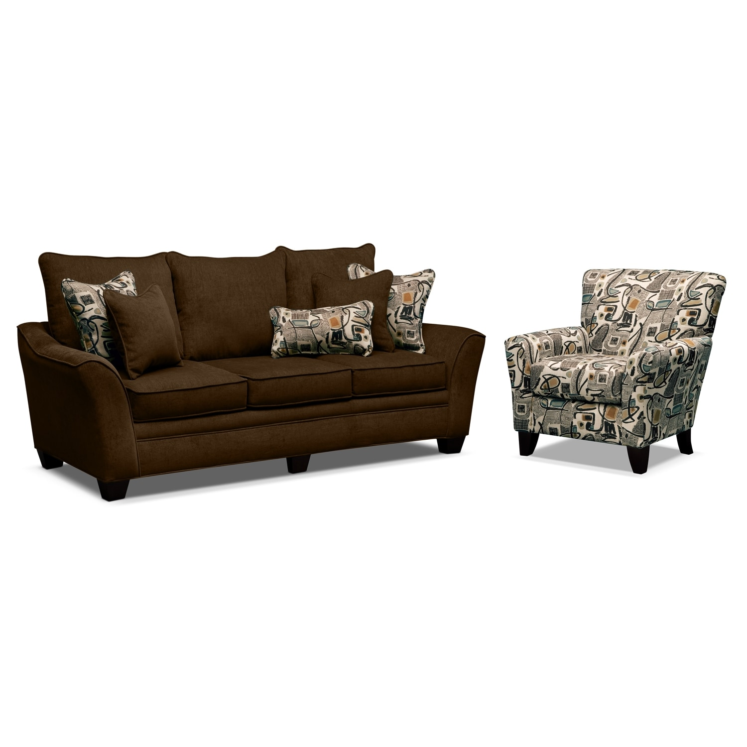 Living Room Furniture - Mandalay 2 Pc. Living Room w/Accent Chair