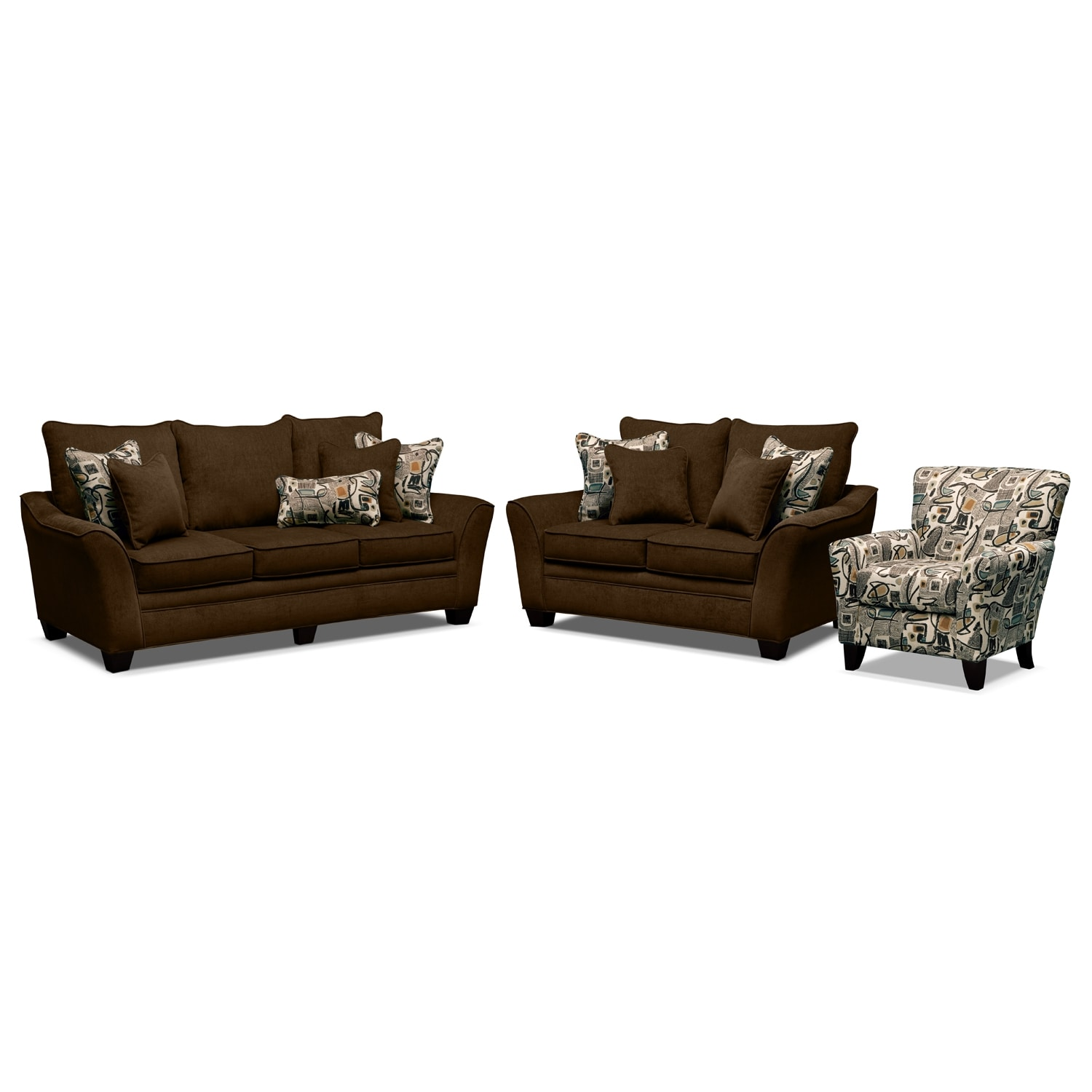 Living Room Furniture - Mandalay 3 Pc. Living Room w/Accent Chair