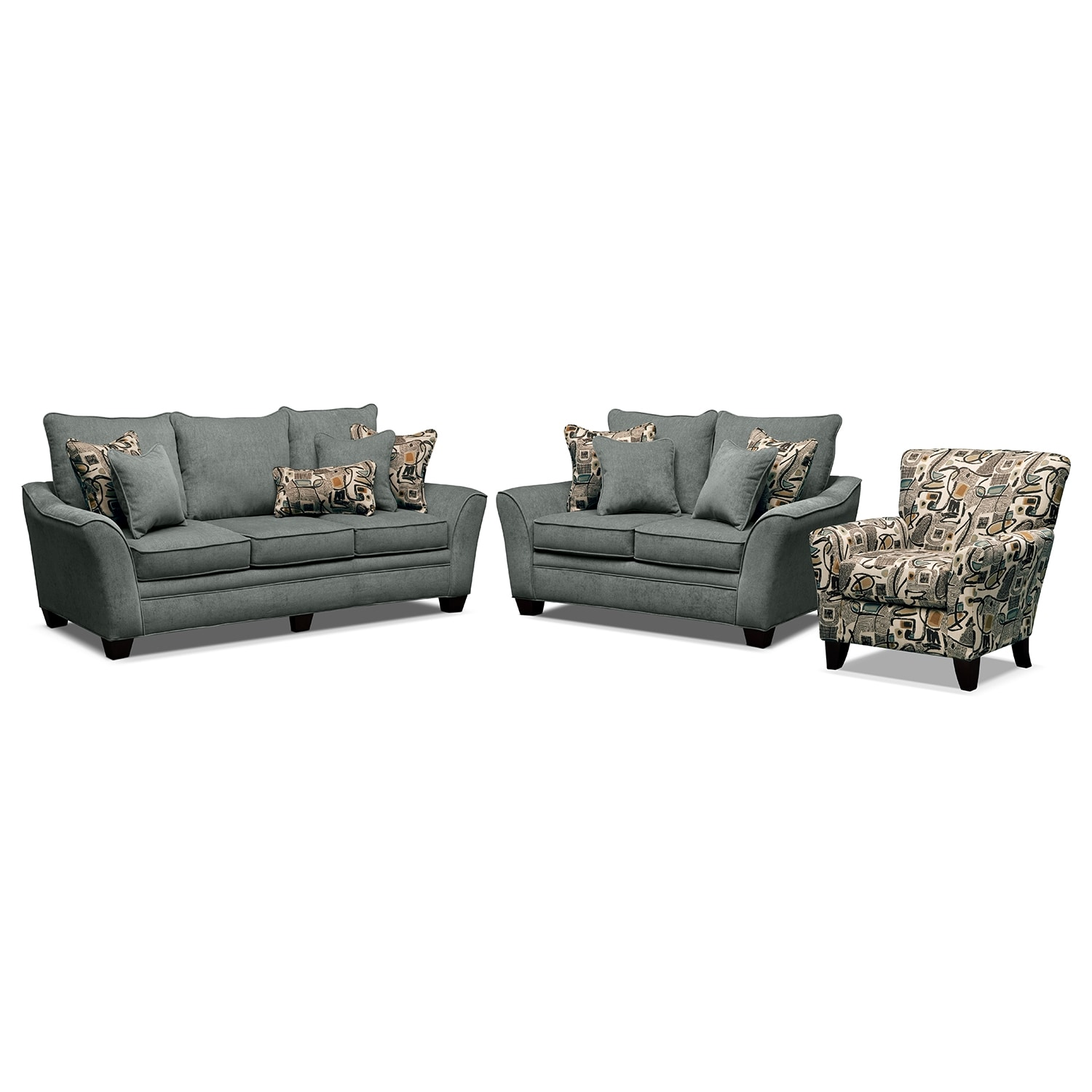 Living Room Furniture - Mandalay II 3 Pc. Living Room w/Accent Chair