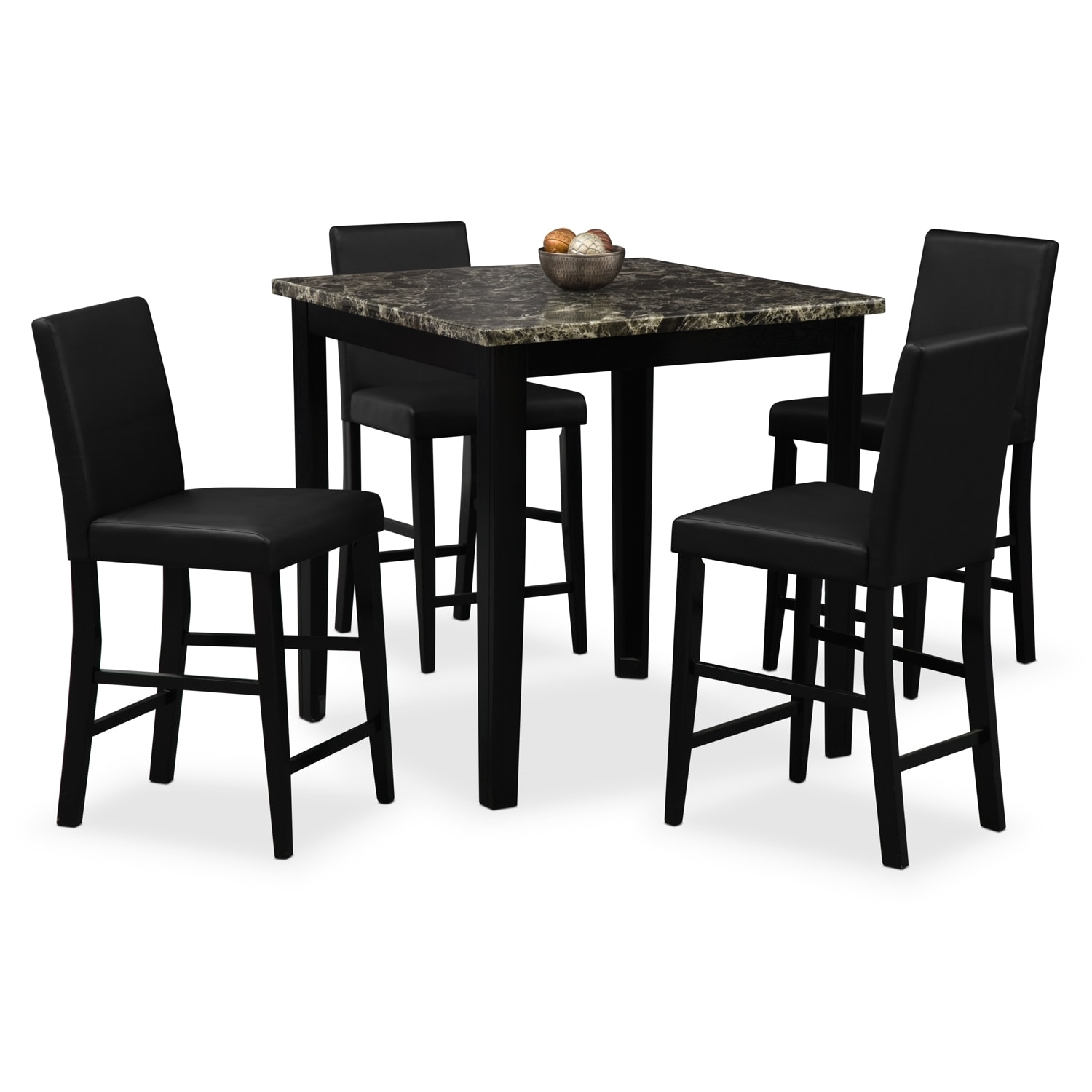 Black Dining Room Table And Chairs: Shadow Counter-Height Table And 4 Chairs - Black