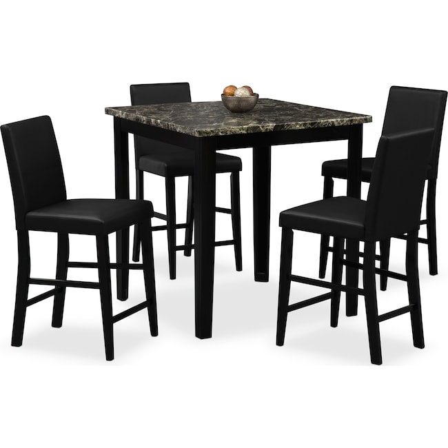 Dining Room Furniture - Shadow Counter-Height Table and 4 Chairs - Black