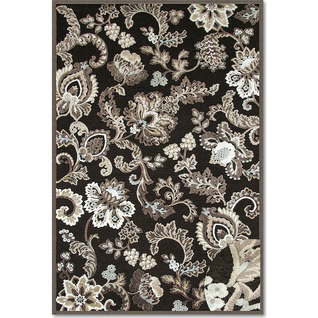 Rugs - Napa Floral Area Rug - Dark Brown and Ivory