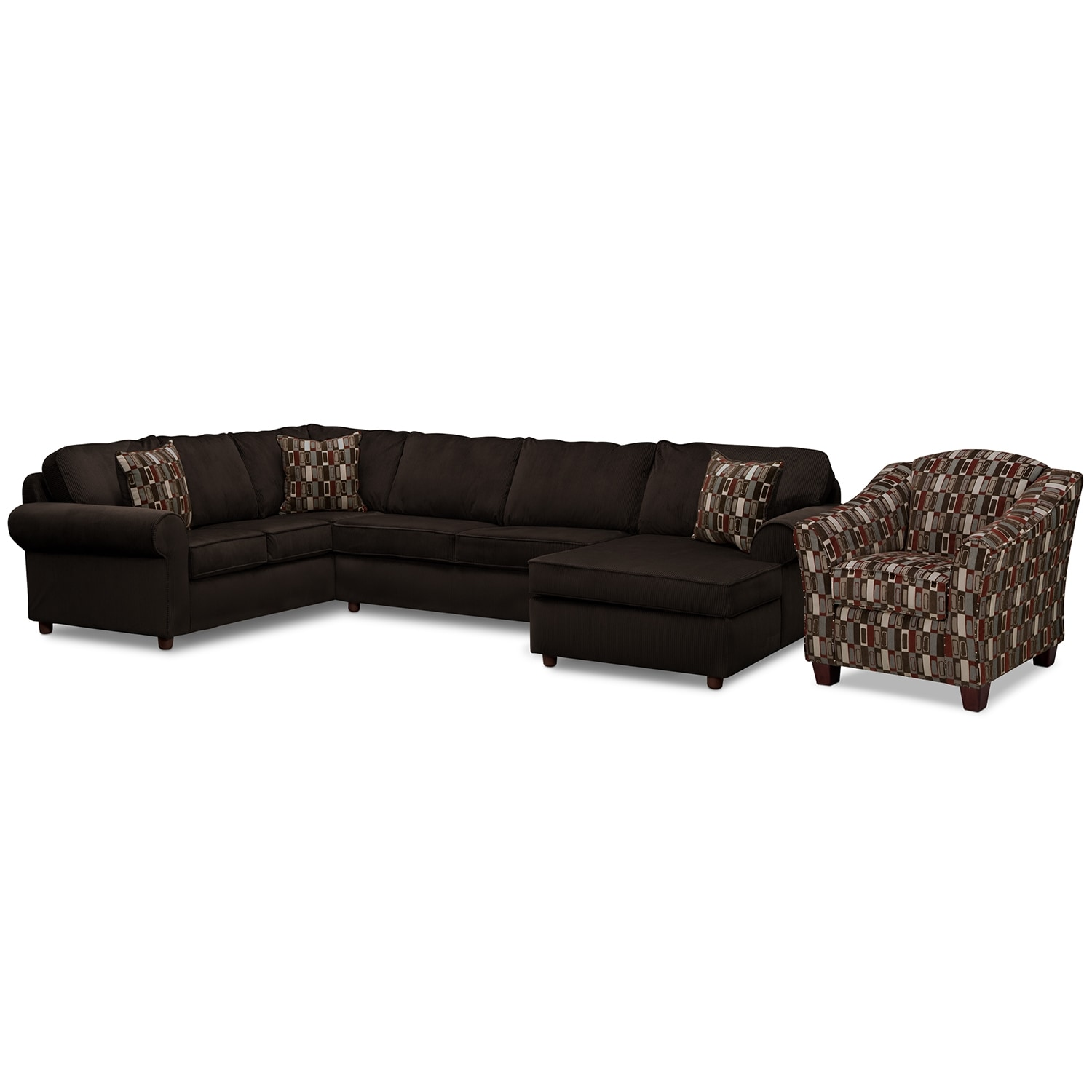 Living Room Furniture - Monarch 3 Pc. Sectional and Accent Chair