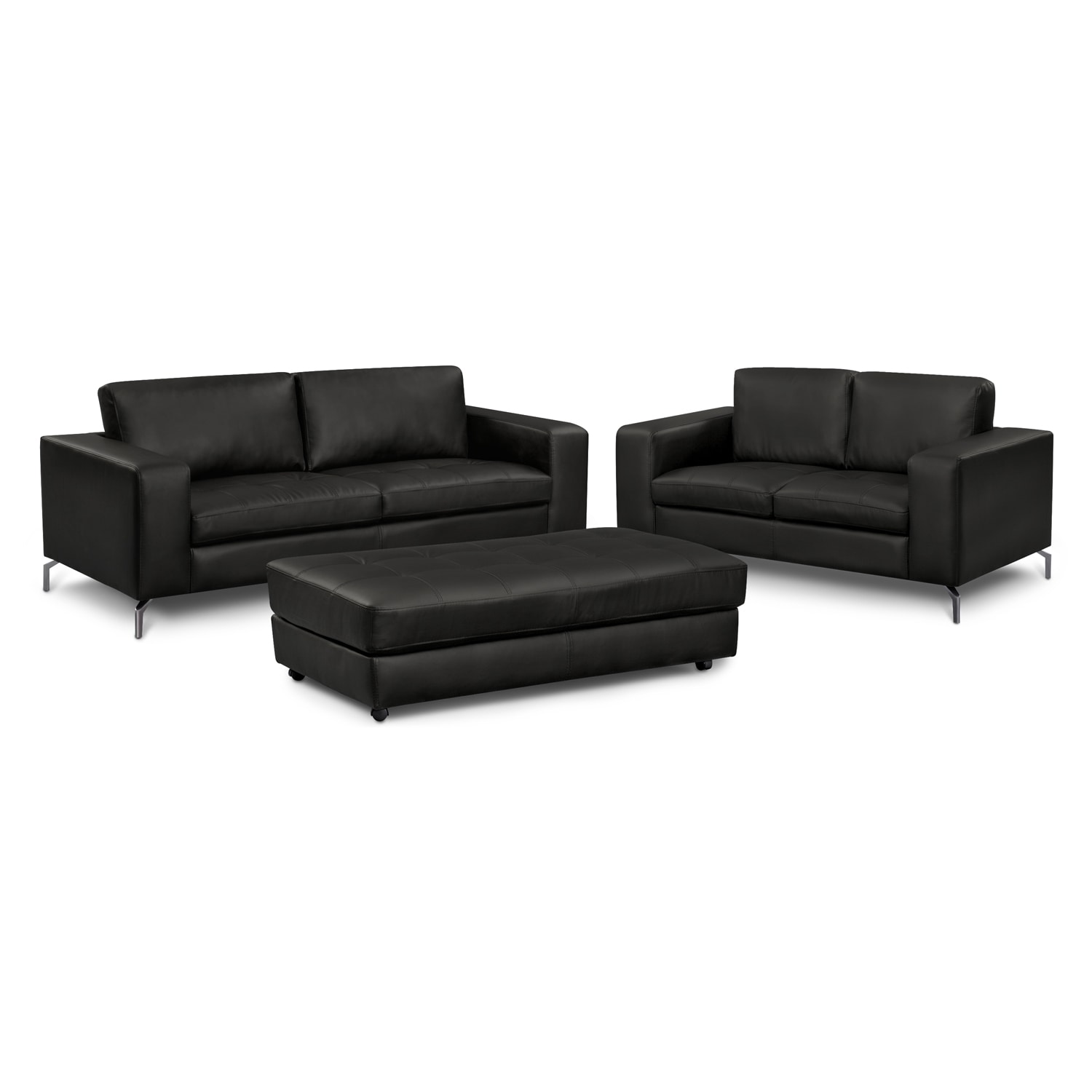 Living Room Furniture - Casino II 3 Pc. Living Room w/Cocktail Ottoman