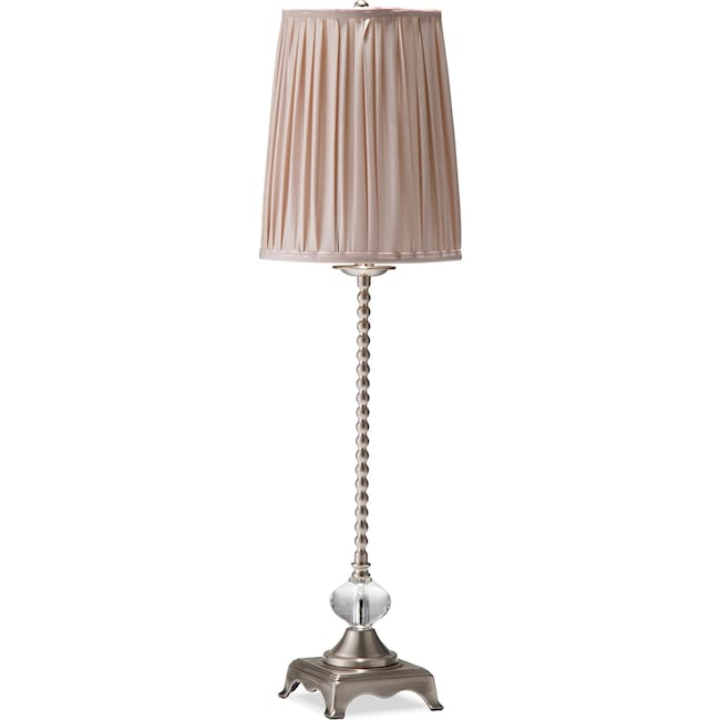 Home Accessories - Crème Glass Buffet Lamp - Brushed Nickel