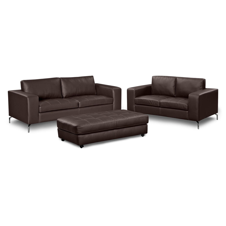 Living Room Furniture - Casino III 3 Pc. Living Room w/Cocktail Ottoman
