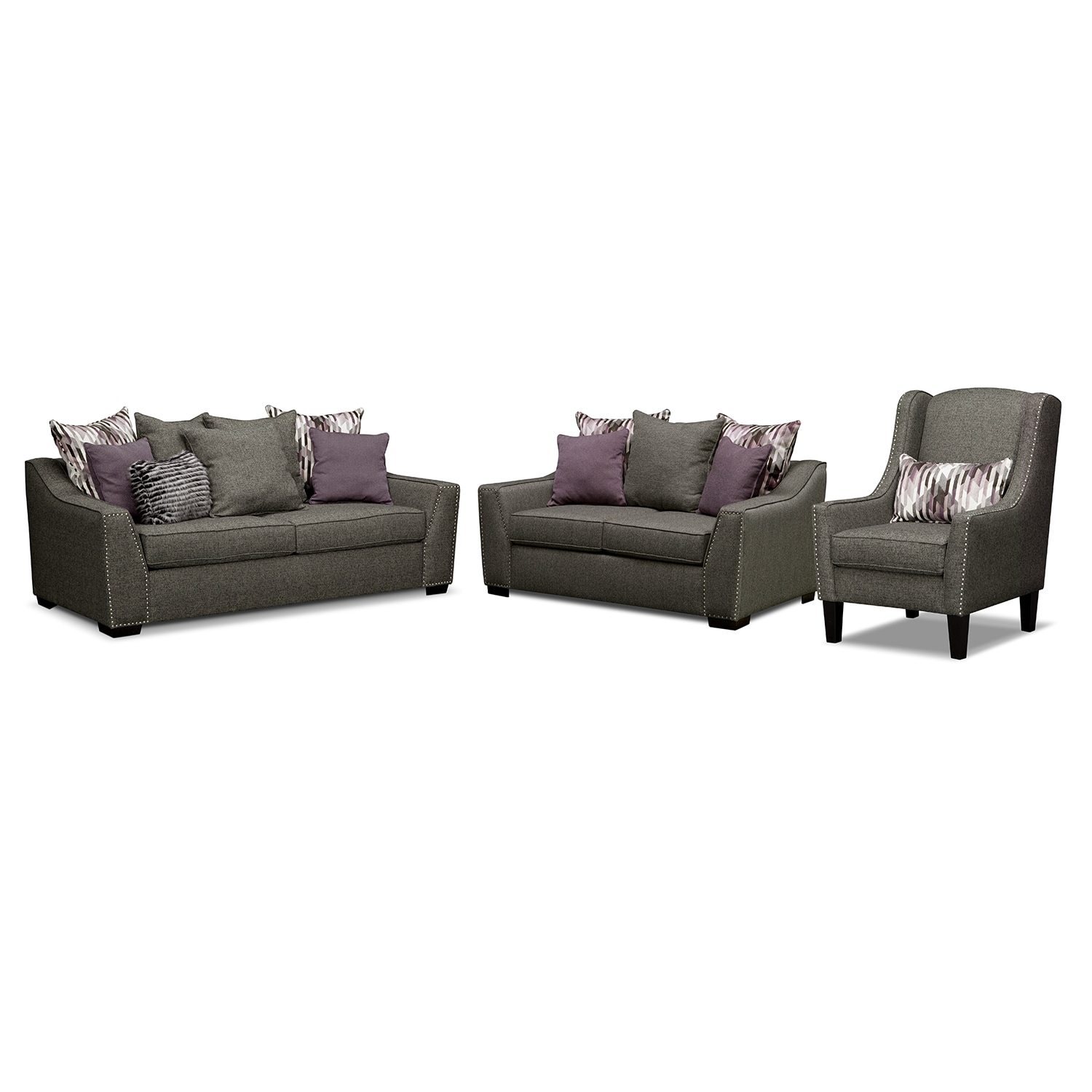 Living Room Furniture - Ritz 3 Pc. Living Room w/Accent Chair