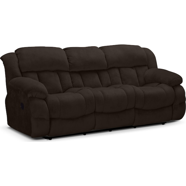 Living Room Furniture - Park City Dual Reclining Sofa - Chocolate