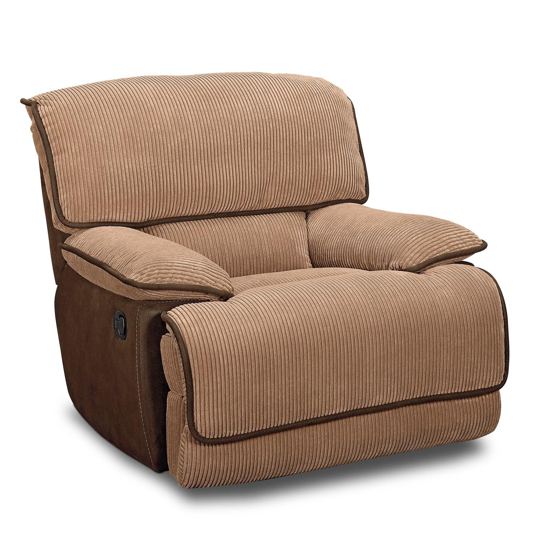 Living Room Furniture - Laguna Glider Recliner - Camel