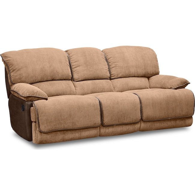 Living Room Furniture - Laguna Dual Reclining Sofa - Camel