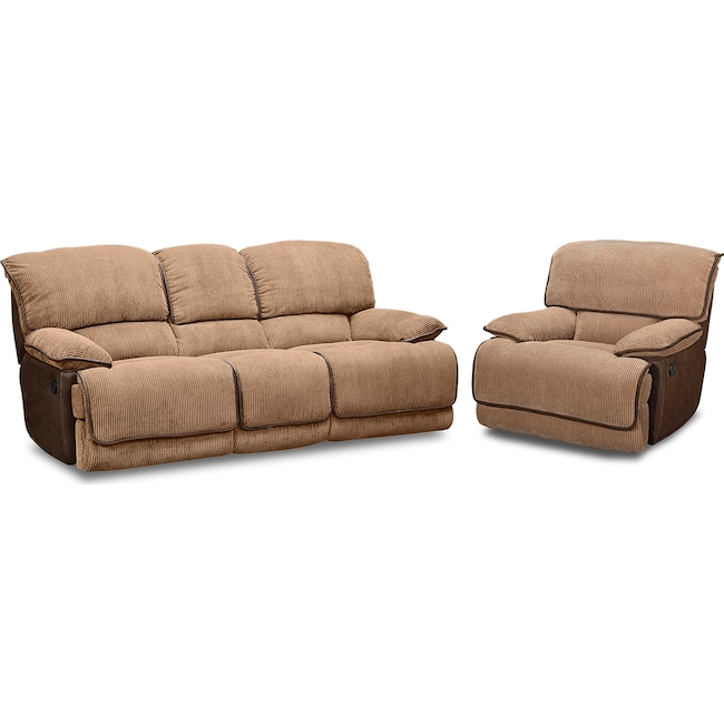 Living Room Furniture - Laguna Reclining Sofa and Glider Recliner Set - Camel