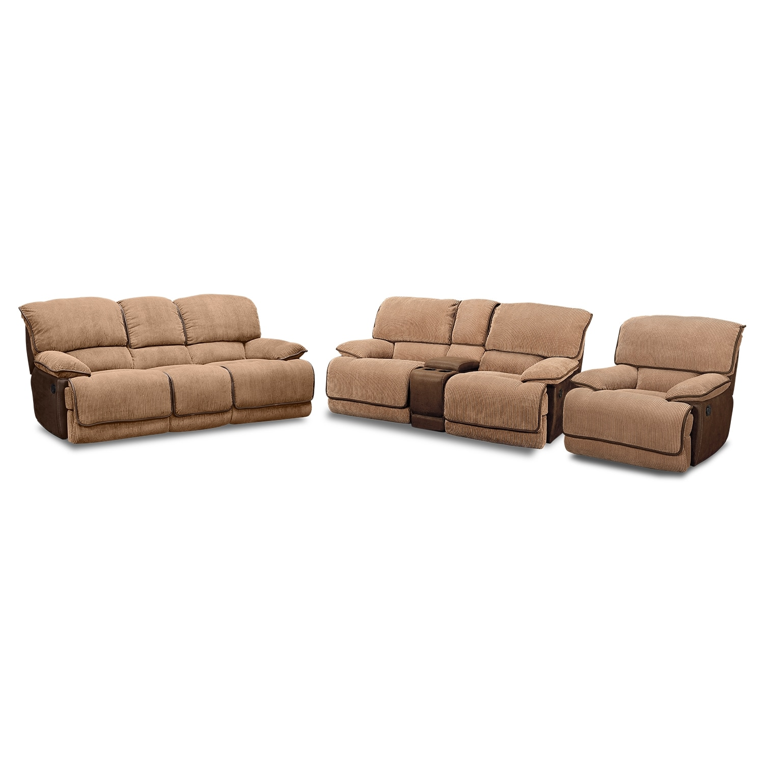 Living Room Furniture - Laguna Reclining Sofa, Loveseat and Glider Recliner Set - Camel