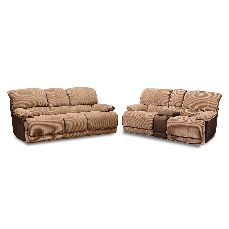 Living Room Furniture - Laguna Reclining Sofa and Gliding Reclining Loveseat Set - Camel