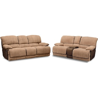 Laguna Reclining Sofa and Gliding Reclining Loveseat Set - Camel