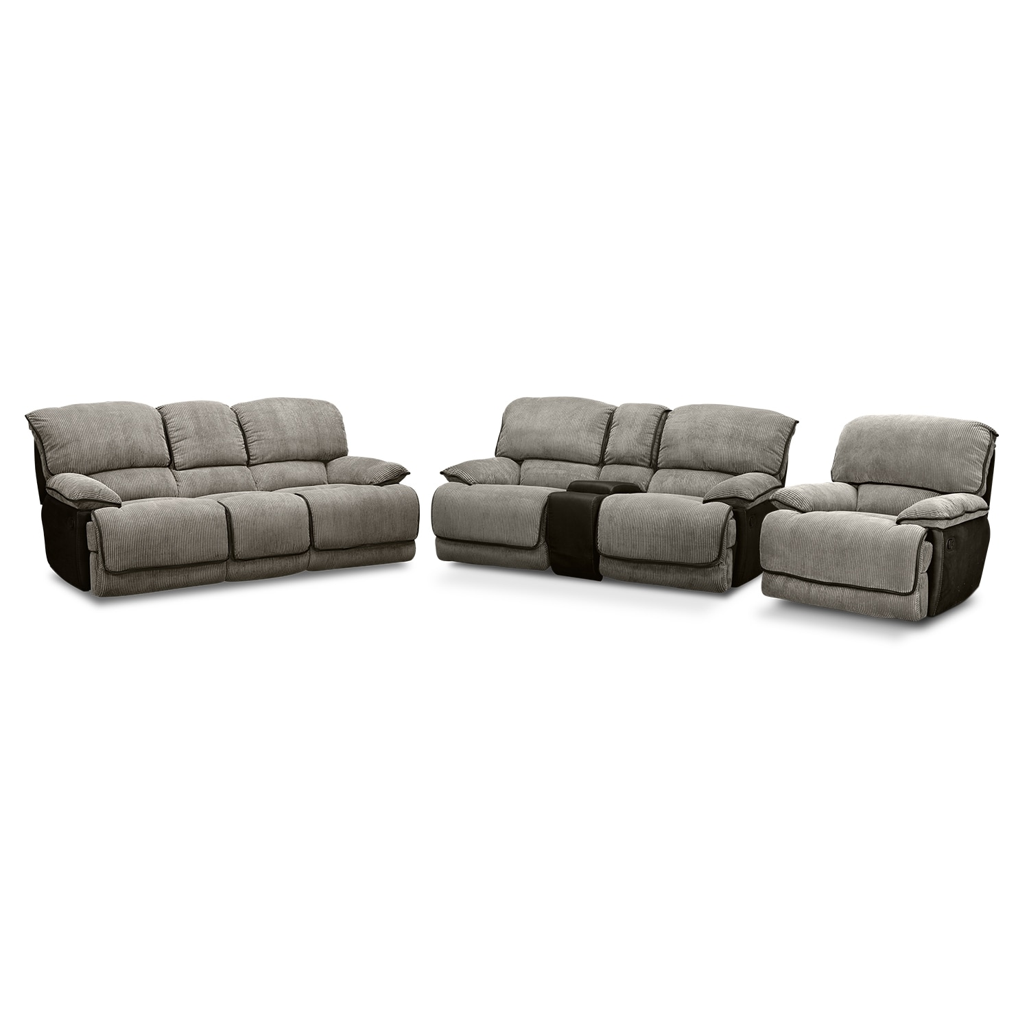 Living Room Furniture - Laguna Reclining Sofa, Gliding Reclining Loveseat and Glider Recliner Set - Steel