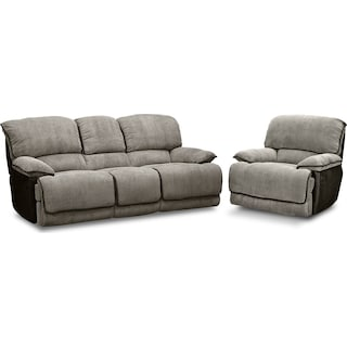 Laguna Reclining Sofa and Glider Recliner Set - Steel