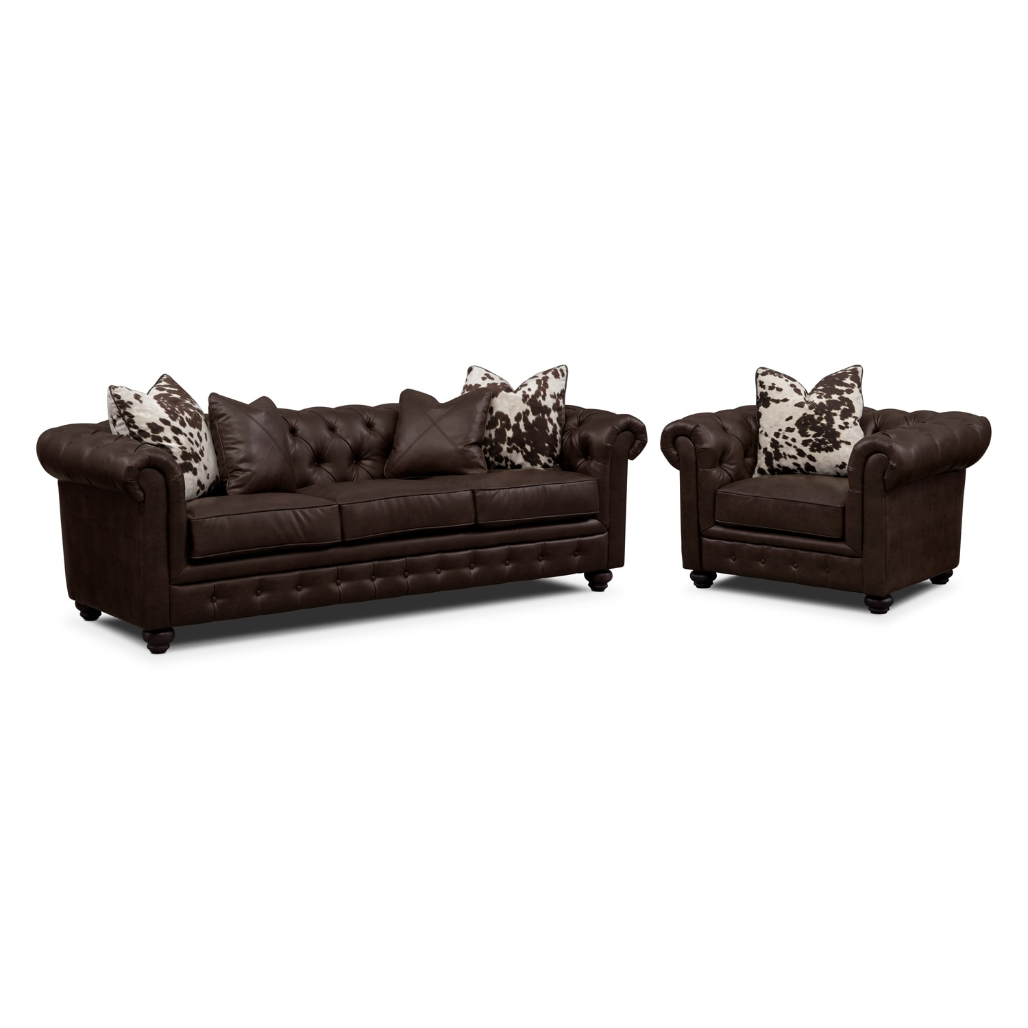 Living Room Furniture - Madeline Chocolate 2 Pc. Living Room Set w/ Chair