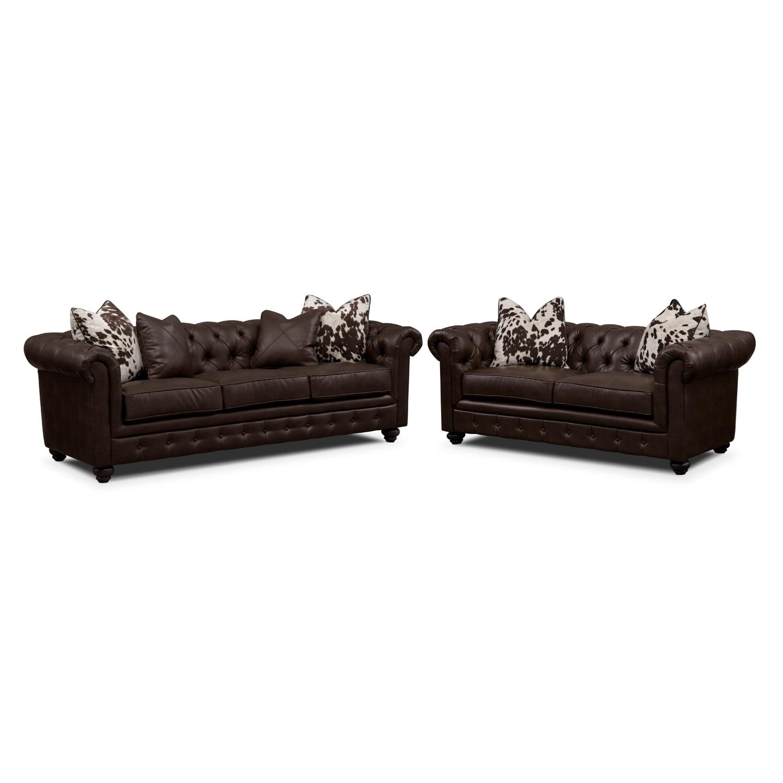 Living Room Furniture - Madeline Chocolate 2 Pc. Living Room Set