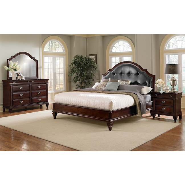 Manhattan 6-Piece King Upholstered Bedroom Set - Cherry | Value ...