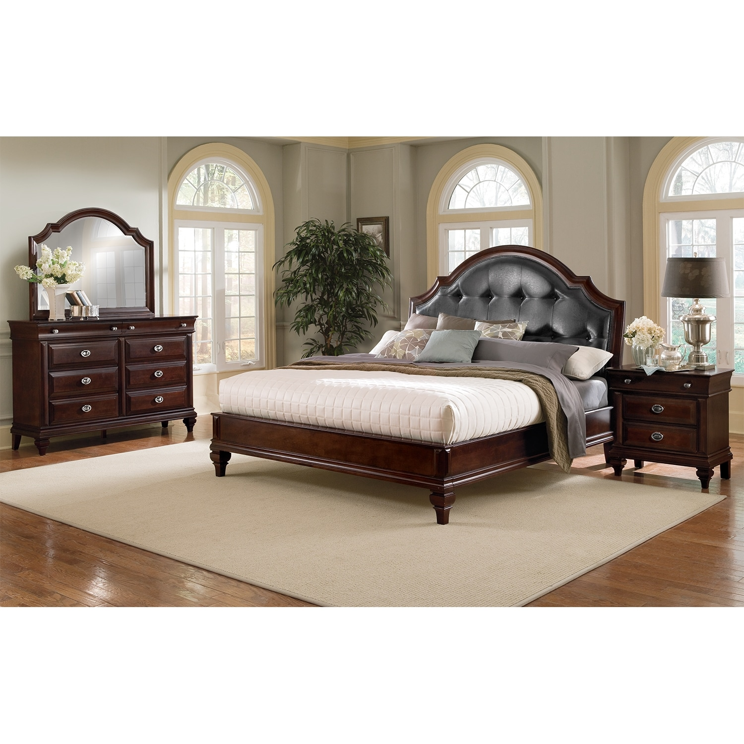 Beautiful Manhattan 6 Piece King Upholstered Bedroom Set   Cherry