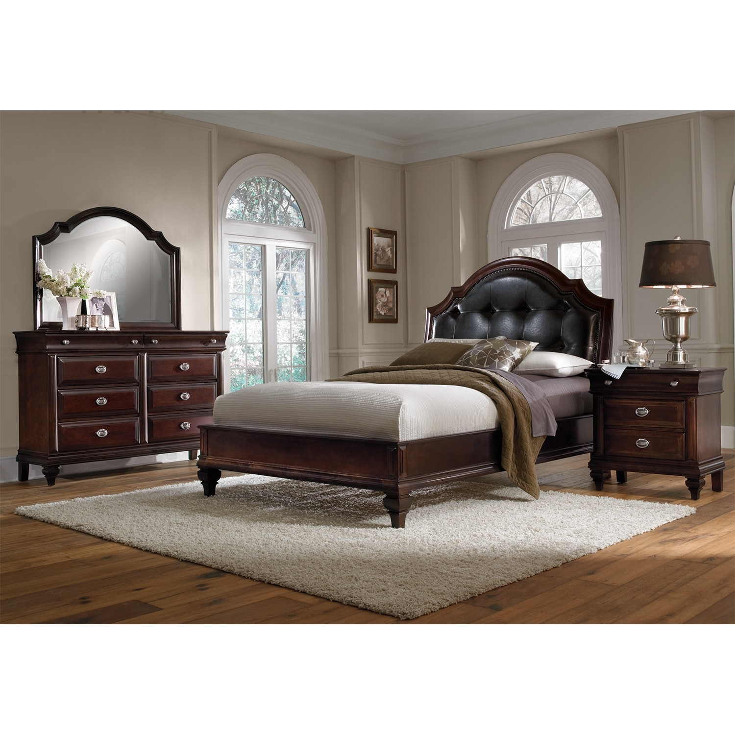 Manhattan 6-Piece Queen Upholstered Bedroom Set - Cherry ...