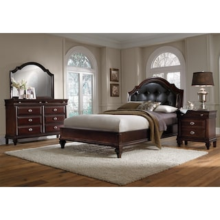 Manhattan 6-Piece Queen Upholstered Bedroom Set - Cherry